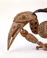 Hornbill carving. Melanesia, Northern New Ireland. Late 19th century, c. 1880. l. 81.3 x h. 34.5 x d. 10.5 cm. UEA 942