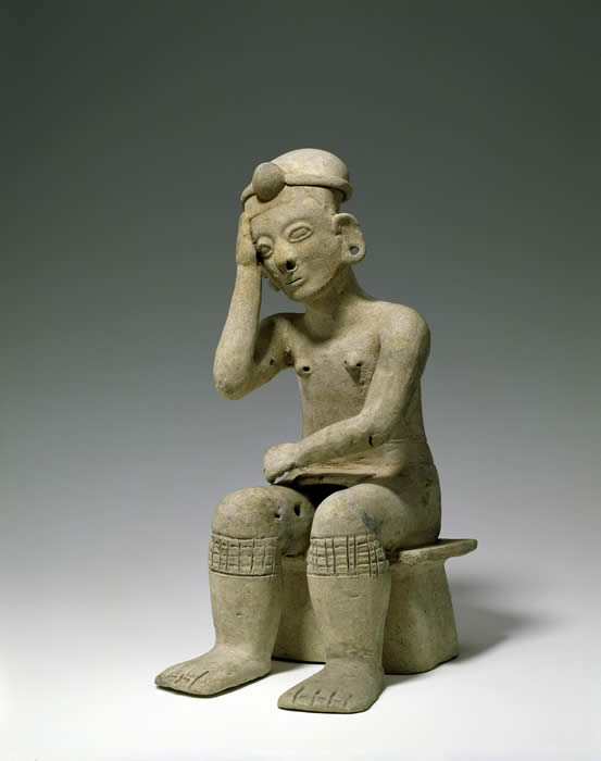 Seated figure. South America, Ecuador: La Tolita-Tumaco culture. 300 BC-AD 400. h. 34.9 cm. UEA 774